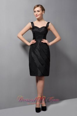 Customize Black Column Mother Of The Bride Dress Straps Ruch Mini-length Taffeta