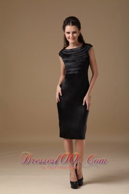Special Column Scoop Little Black Dress Satin Ruch Knee-length