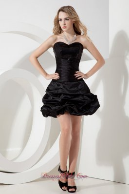 Black A-line / Princess Sweetheart Sequins Little Black Dress Mini-length Taffeta