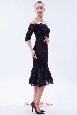 Black Column Off the Shoulder Tea-length Lace Beading Mother Of The Bride Dress