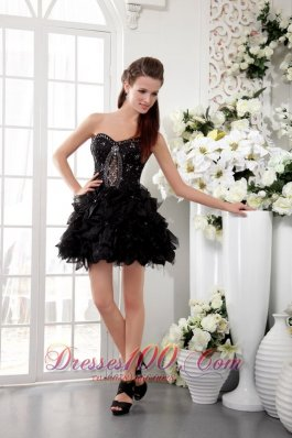 Black A-Line / Princess Sweetheart Short Organza Beading and Lace Prom / Homecoming Dress