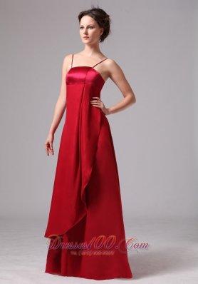 Wine Red Spaghetti Straps Satin and Chiffon Simple Mother Of The Bride Dress In Bainbridge Georg