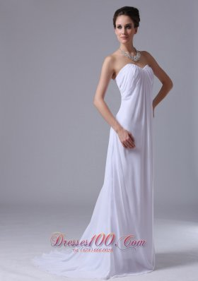 Customize Empire Beach / Destination Chiffon Sweetheart Wedding Dress Zipper-up