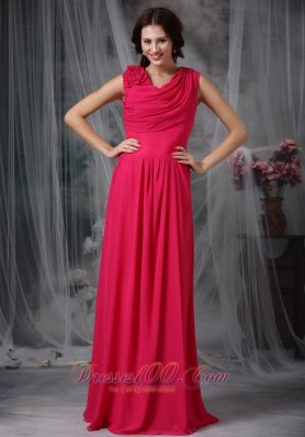 Coral Red Empire V-neck Floor-length Chiffon Hand Made Flower Prom Dress