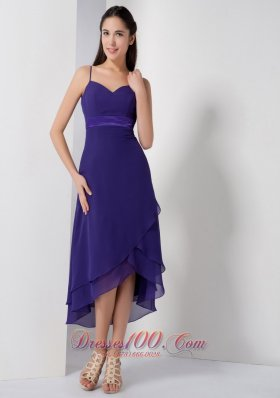 Customize Purple Empire Spaghetti Straps Brideamaid Dress High-low Chiffon