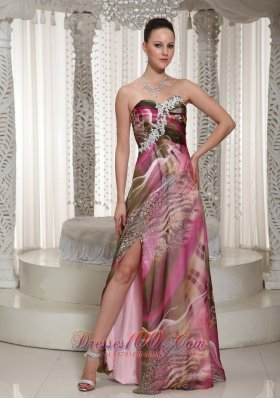 High Slit Sweetheart Printing For Prom Dress With Appliques