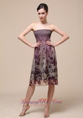 Colorful Bridesmaid Dress With Strapless Knee-length Printing