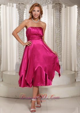 Hot Pink Ruched Bodice Tea-length Simple Mother Of The Bride Dress For Wedding Party