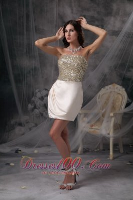 Best Champagne Column Evening Dress Strapless Satin Beading and Ruch Mini-length