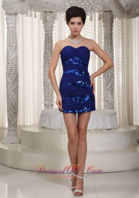 Royal Column Sweetheart Mini-length Sequined and Chiffon Ruched Prom Dress
