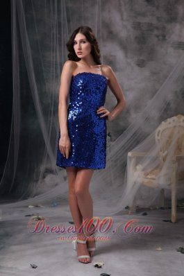 Customize Peacock Blue Column Evening Dress Strapless Beading Sequin Mini-length