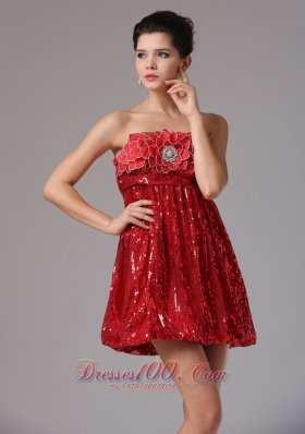 Custom Made Wine Red Empire Squin Homecoming Dress Mini-length In California