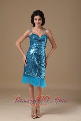 Teal Column Straps Knee-length Sequin Beading Prom Dress