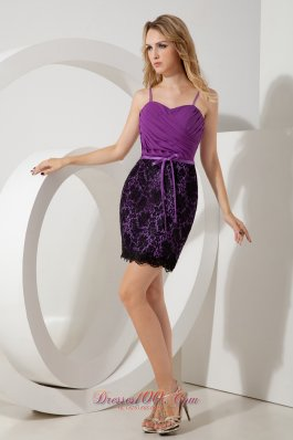 Purple Column Straps Ruch Short Prom / Homecoming Dress Mini-length Lace