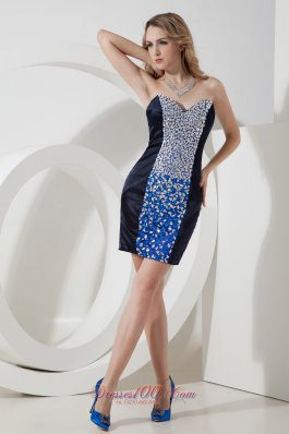 Black Column / Sheath Sweetheart Rhinestones Short Prom Dress Mini-length Satin