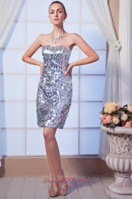 Silver Column Strapless Mini-length Sequin Beading Cocktail Dress