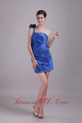 Blue Column/Sheath One-shoulder Mini-length Handle-made Flower Prom / Homecoming Dress