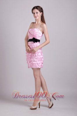 Pink Column Strapless Mini-length Taffeta Sash and Ruch Prom / Homecoming Dress