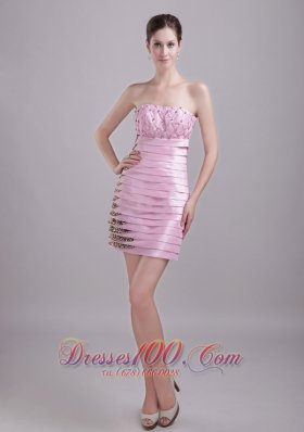 Baby Pink Column/Sheath Strapless Knee-length Taffeta and Leopard Beading Ruffles Prom / Homecoming Dress