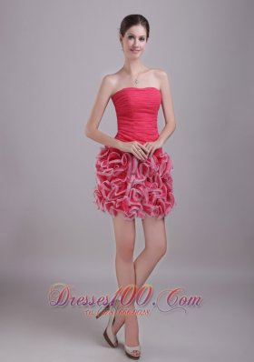 Red Column/Sheath Strapless Mini-length Chiffon and Organza Ruch Prom / Homecoming Dress
