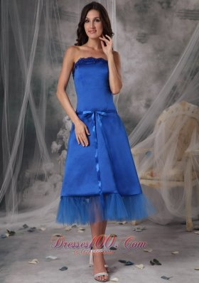 Beautiful Blue A-Line / Princess Strapless Homecoming Dress Taffeta Sashes / Ribbons Tea-length  Dama Dresses