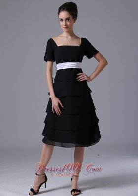 Black tiered skirt Square Black Wedding Party A-Line Chiffon Mother of the Bride Dress  Dama Dresses