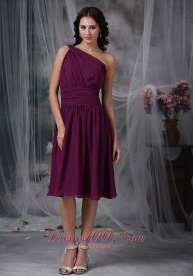 Purple Empire One Shoulder Knee-length Chiffon Ruch Bridesmaid Dress  Dama Dresses