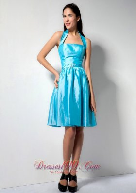 Brand New Aqua Blue A-line Halter Bridesmaid Dress Knee-length Taffeta  Dama Dresses