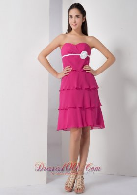 Latest Hot Pink Empire Bridesmaid Dress Sweetheart Chiffon Hand Made Flower Knee-length  Dama Dresses