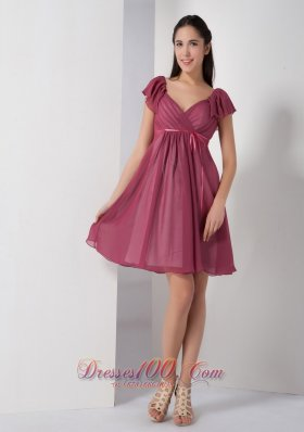 Customize Burgundy A-line V-neck Bridesmaid Dress Chiffon Ruch Knee-length  Dama Dresses