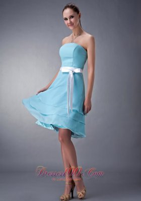 Impression Aqua Blue Empire Strapless Bridesmaid Dress Chiffon Sash Knee-length  Dama Dresses
