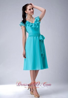 Aqua Blue Dress with Sleeves
