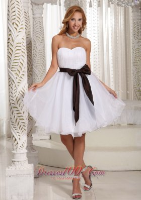 Simple Sash Sweetheart With Ruch Bodice Organza Knee-length Prom Dress For Summer  Dama Dresses