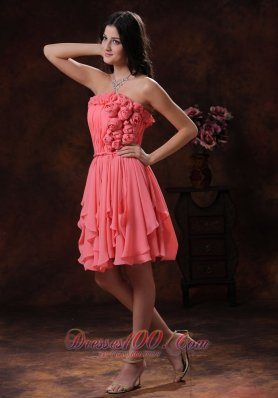 Watermelon Flowers Decorate Chiffon Short Homecoming Dress In Prescott Valley Arizona  Dama Dresses