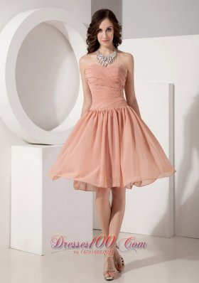 Customize Simple Empire Sweetheart Chiffon Ruched Evening Dress Knee-length  Dama Dresses