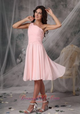 Custom Baby Pink Empire Homecoming Dress One Shoulder Knee-length Chiffon  Dama Dresses