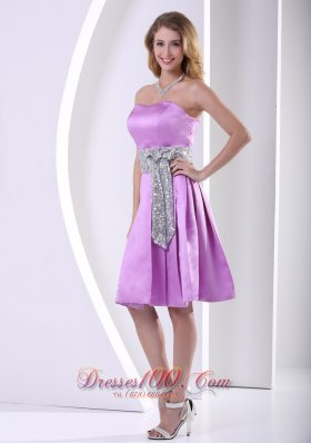 Lavender A-line Knee-length Prom / Homecoming Dress With Sequins Decorated Sash  Dama Dresses