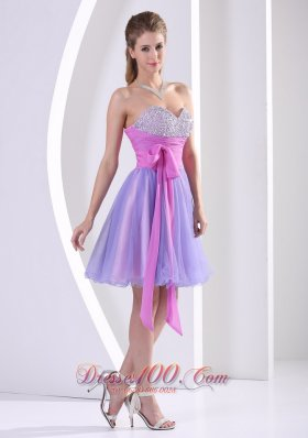 Beaded Decorate Sweetheart Lavender and Lilac Prom / Homecoming Dress With Sash Knee-length  Dama Dresses
