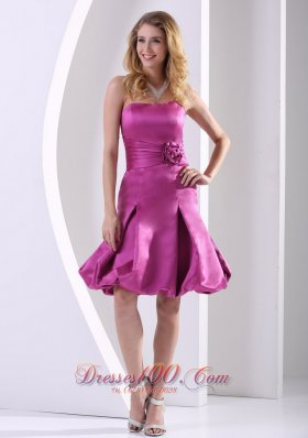 Fuchsia A-line Strapless Bridesmaid Dress With Satin Ruch and Hand Made Flowers  Dama Dresses
