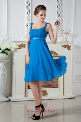 Blue Empire Straps Prom Dress Knee-length Chiffon Ruch  Dama Dresses