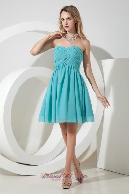 Turquoise A-line / Princess Sweetheart Ruch Bridesmaid Dress Knee-length Chiffon  Dama Dresses