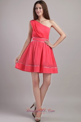 Coral Red A-line One Shoulder Mini-length Chiffon Prom / Cocktail Dress  Dama Dresses