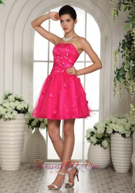 2013 2013 Hot Pink Prom Dress With Appliques and Beading Mini-length For Custom Made