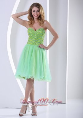 2013 Beaded Decorate Bust Yellow Green Sweetheart Knee-length Cocktail Dress With Organza In 2013