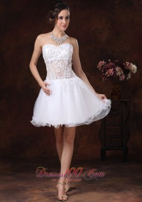 2013 Appliques Sweetheart Mini-length For White Cocktail / Homecoming Dress