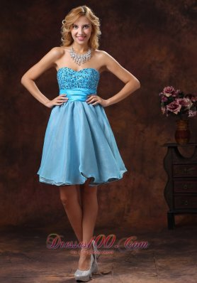 2013 2013 Baby Blue Sweetheart Beaded Decorate Prom Dress With Mini-length in Cocktail