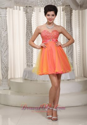 2013 Watermelon and Yellow A-line / Princess Sweetheart Mini-length Organza Beading Prom / Cocktail Dress