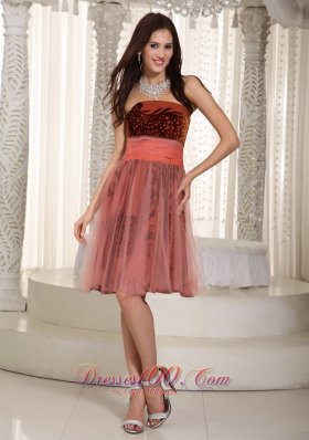 2013 Rust Red A-line Strapless Knee-length Printing and Tulle Belt Prom Dress