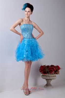 2013 Baby Blue A-line Strapless Prom / Homecoming Dress Organza Beading Mini-length