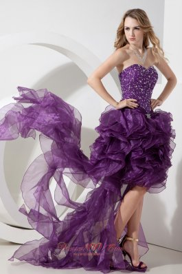 2013 Purple High-low Organza Beading Prom Dress Column / Sheath Sweetheart